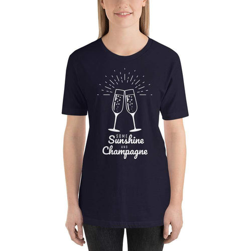 womens wine tshirts Navy / XS Some Sunshine And Champagne (v1)