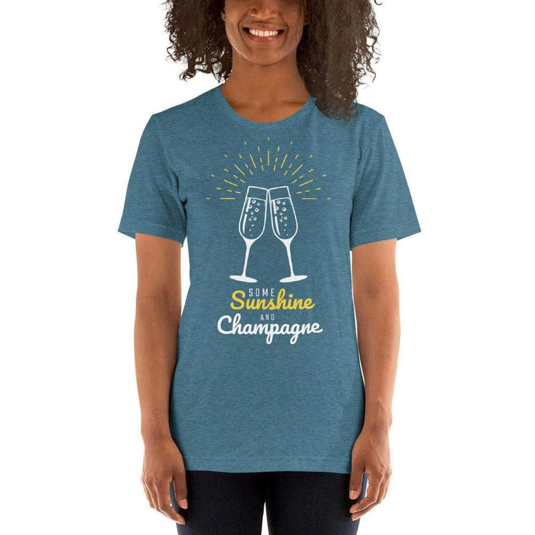 womens wine tshirts Heather Deep Teal / S Some Sunshine And Champagne (v2)