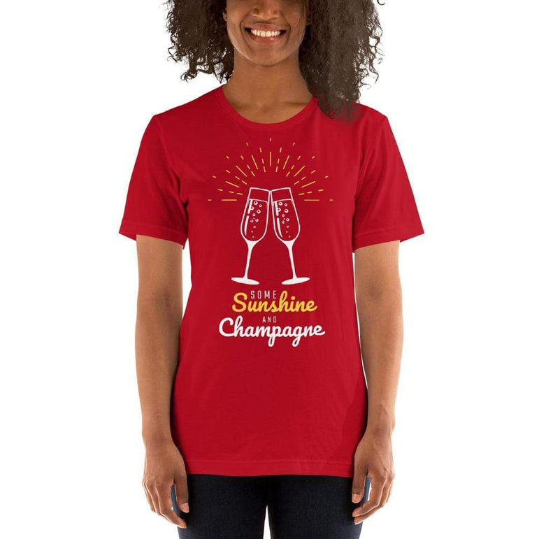 womens wine tshirts Red / S Some Sunshine And Champagne (v2)