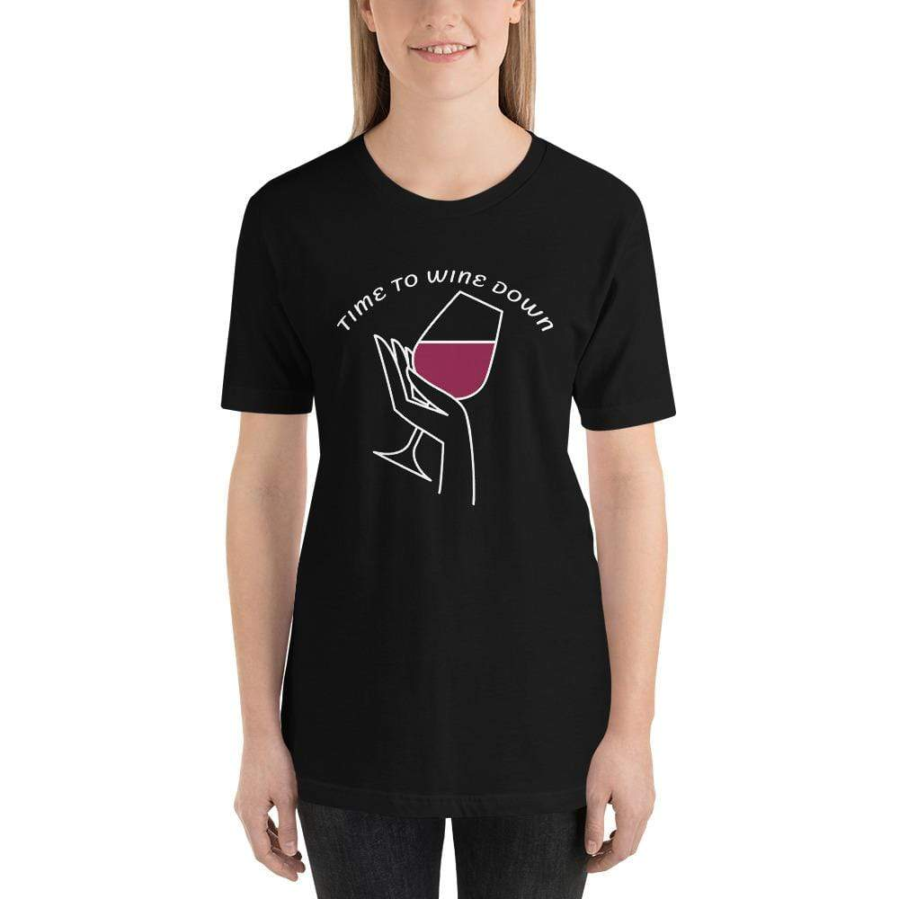 womens wine tshirts Black / XS Time To Wine Down (v1)