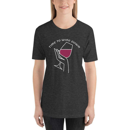 womens wine tshirts Dark Grey Heather / XS Time To Wine Down (v1)