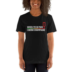 womens wine tshirts Black / XS When I'm In Pain I Drink Champagne (v1)
