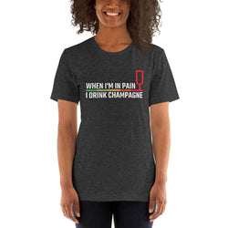 womens wine tshirts Dark Grey Heather / XS When I'm In Pain I Drink Champagne (v1)