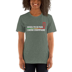 womens wine tshirts Heather Forest / S When I'm In Pain I Drink Champagne (v1)