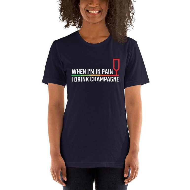 womens wine tshirts Navy / XS When I'm In Pain I Drink Champagne (v1)