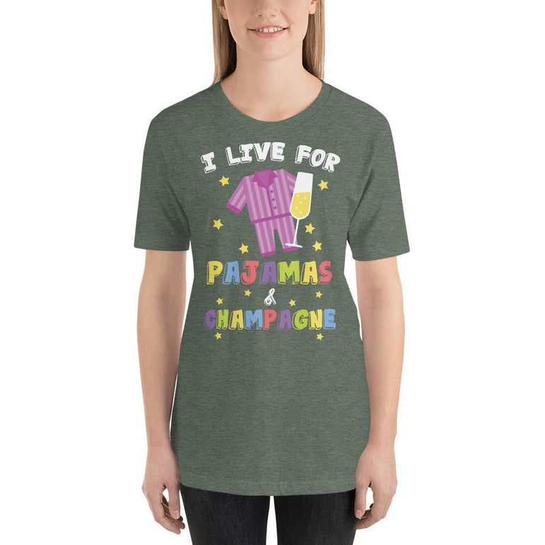 womens wine tshirts Heather Forest / S Womens - Tshirt - Wine - I Live For Pajamas And Champagne (V3)
