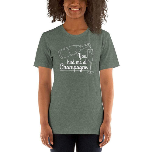 womens wine tshirts Heather Forest / S You Had Me At Champagne (v1)