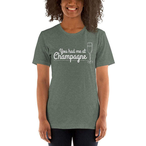 womens wine tshirts Heather Forest / S You Had Me At Champagne (v2)