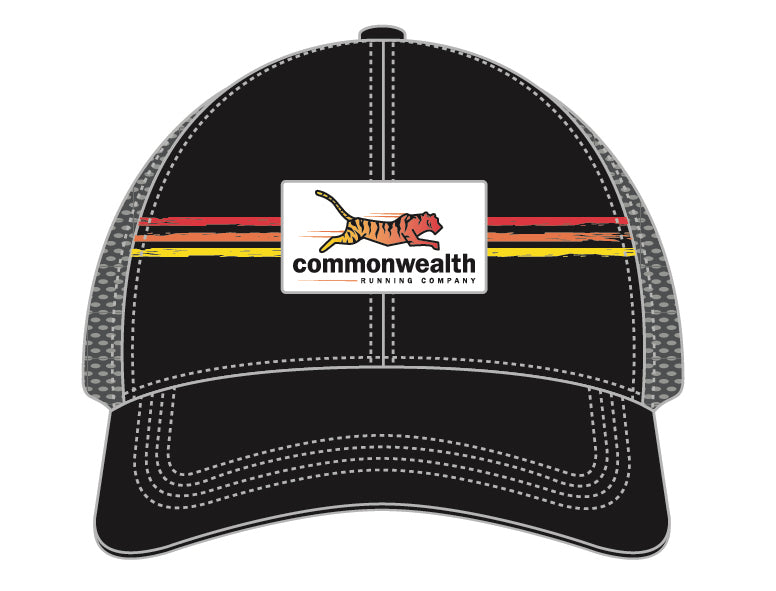 Commonwealth Running Co. Trucker Hat  - Black with Stripes