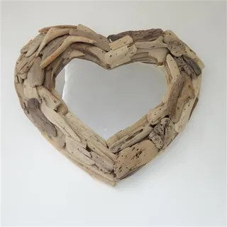 Driftwood Heart Mirror (Whitewash)