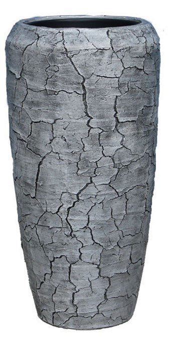 Stylish Poly Pot / Vase - Cracked Finish / Alum