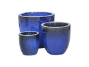 Medium Glazed Terracotta Pot - Blue, Curved Base