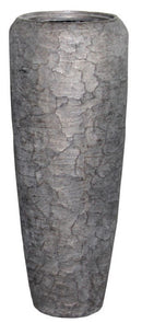 Stylish Poly Pot / Vase - Cracked Finish /  Dark Brown / Coal