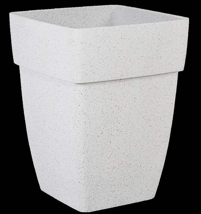 White Garden Pot (Poly Sand) Light Weight - Square (37cm x 37cm)