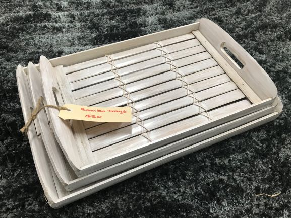 Bamboo Trays - set of (3 ) Whitewash