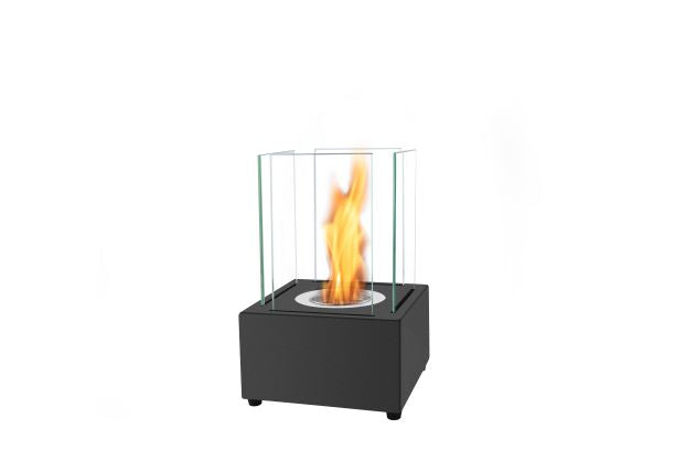 Bio Ethanol Table Top Fireplace - 21cm square base with glass sides