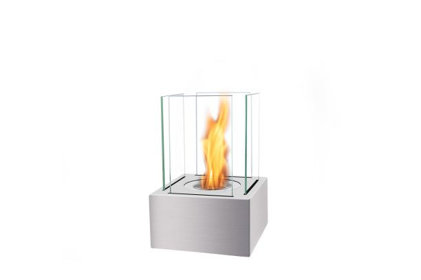 Bio Ethanol Table Top Fireplace - 35cm Square with glass sides
