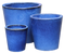 Large Glazed Terracotta Pot - Blue, Tapered