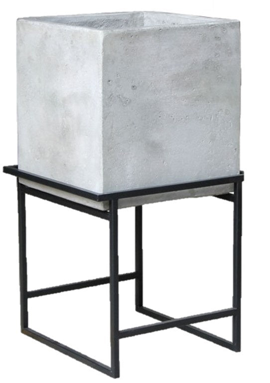 Small Light Cement Cube on Metal Stand