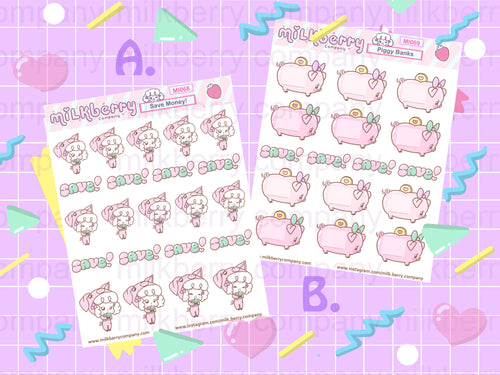 Let's Save Money! Financial Piggy Bank sticker sheet set