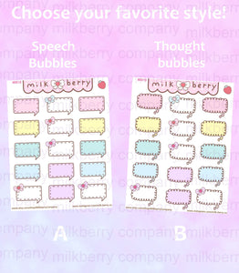 Say it! Speech and Thought Pastel Kawaii Planner Stickers