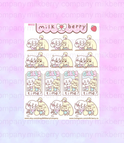 Best Friends Girl Time! Friendship Outing Kawaii Planner Stickers