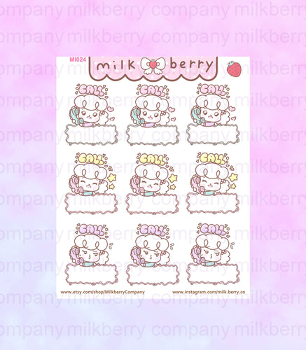 Telephone Call Reminder Kawaii Planner Stickers