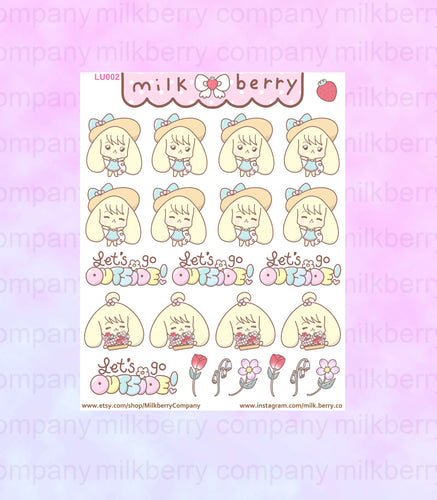 Beautiful Spring! Outdoors Day Cute Bunny Kawaii Planner Stickers