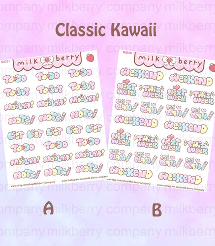 Milkberry Co Bubble Lettering! Functional Kawaii Planner Stickers