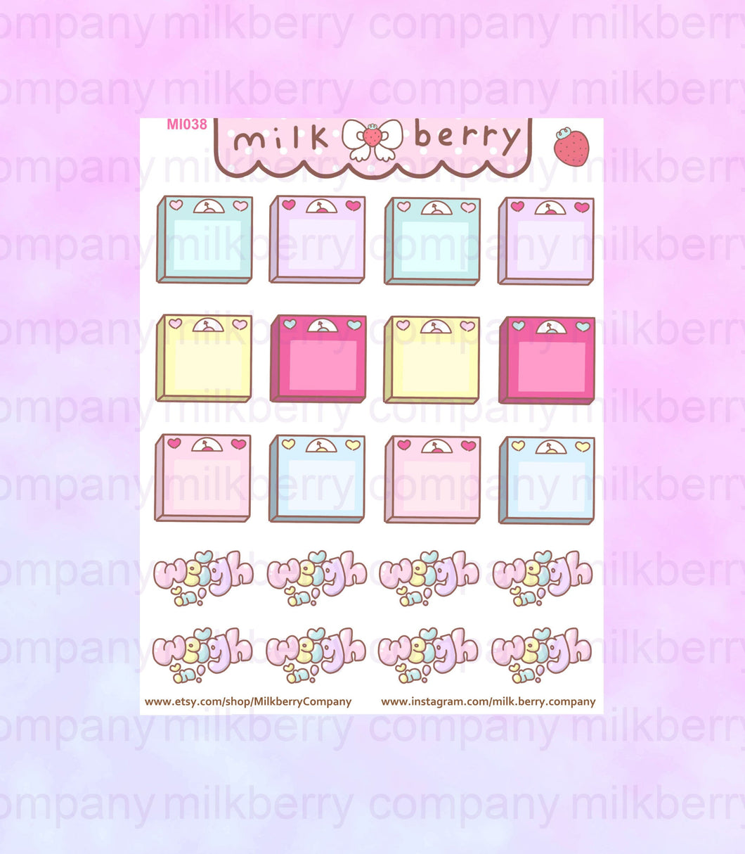 Kawaii Cute Blank Scales Weight Planner Stickers