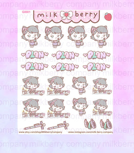 Plan with Gigi the Cat Cute Goth Kawaii Planner Stickers