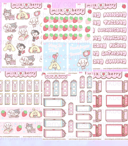 MilkBerry Anniversary Strawberry MIlk Party Kit Kawaii Planner Stickers