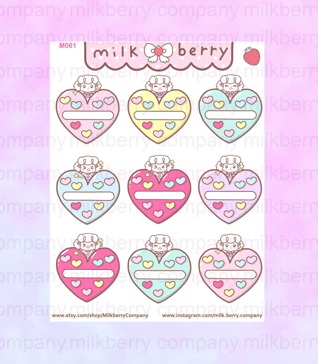 Habit Hearts! Habit Tracker Cute Kawaii Planner Stickers