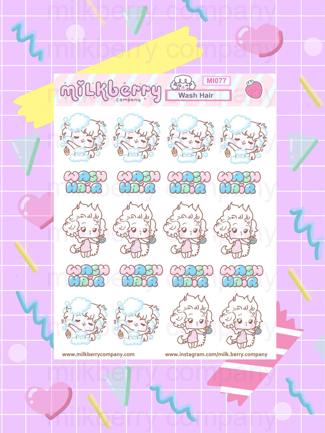 Let's Wash hair! Beauty Prep Cute Kawaii Planner Stickers