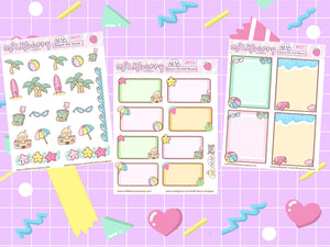 Beach Fun! Summer time Sun Kawaii Planner Stickers Kit