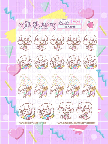 Ice Cream Days! Sweets Ice cream Cone Summer Kawaii Planner Stickers