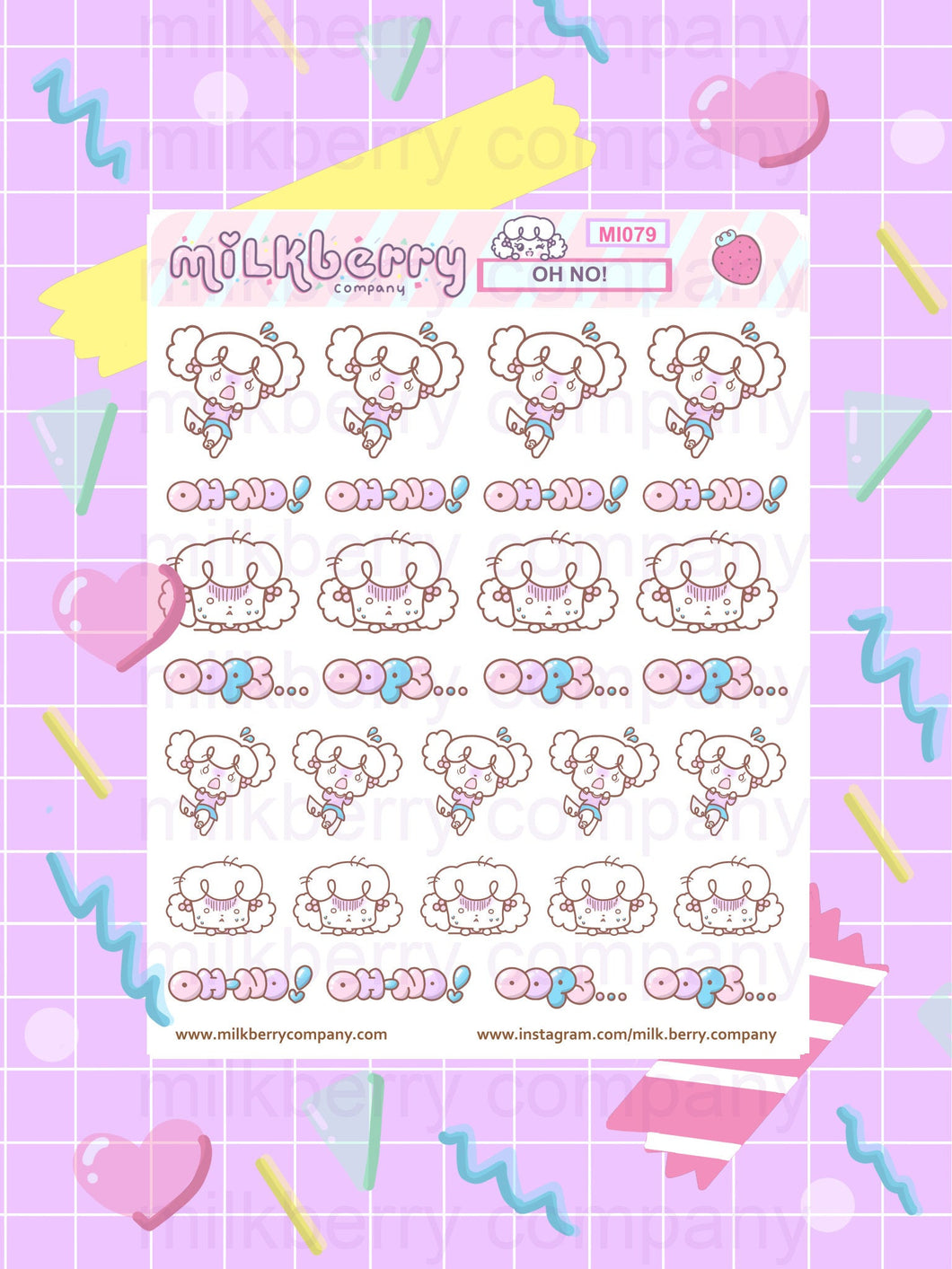 OH-NO! Mistake Oops Shocked Kawaii Planner Stickers
