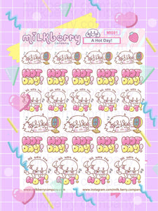 Hot Day! Heat Up Summer time Kawaii Planner Stickers