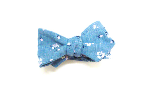 Light Chambray Floral Bow Tie