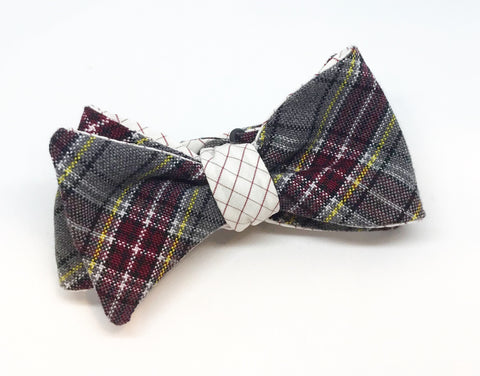 Plaid and Graph Check Maroon and Gold Reversible Bow Tie