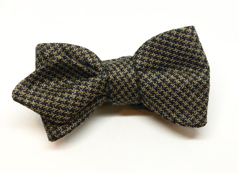 Brown Wool Houndstooth Bow Tie