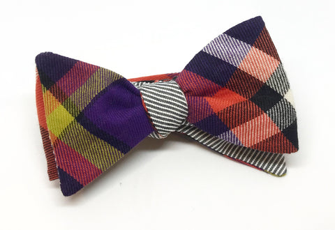 Exploded Check and Stripe Reversible Bow Tie