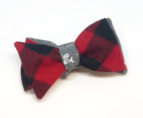 Buffalo Check Flannel and Chambray Cherries Reversible Bow Tie