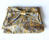 Bow Clutch in Gold Paisley Jacquard