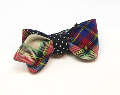 Tartan and Polka Dot Reversible Bow Tie