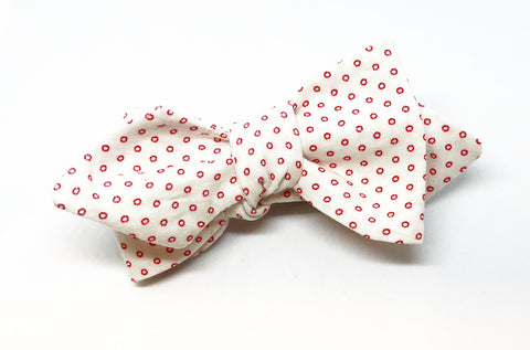 Vintage Micro Circle Bow Tie in Red