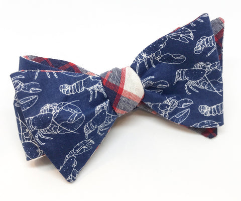 Lobster and Plaid Reversible Bow Tie