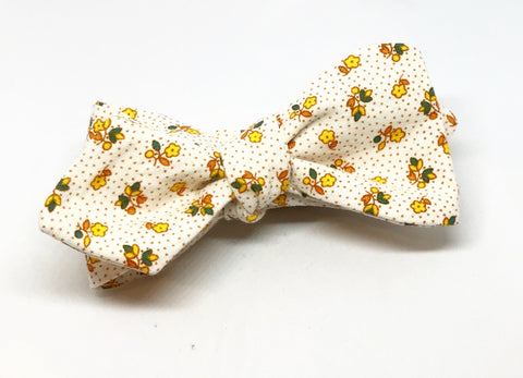 Gold Flowers and Pin Dots Bow Tie