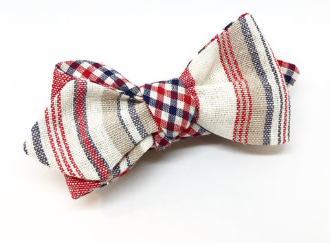 Linen Stripe and Check Bow Tie