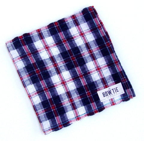 Red, White and Blue Seersucker Pocket Square